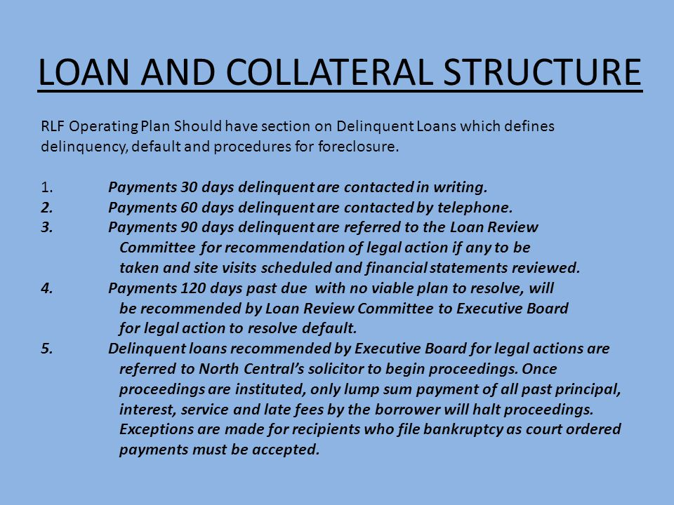 LOAN AND COLLATERAL STRUCTURE RLF Operating Plan Should have section on Delinquent Loans which defines delinquency, default and procedures for foreclo