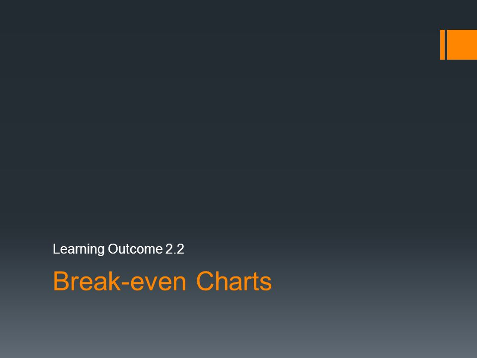 Break-even Charts Learning Outcome 2.2