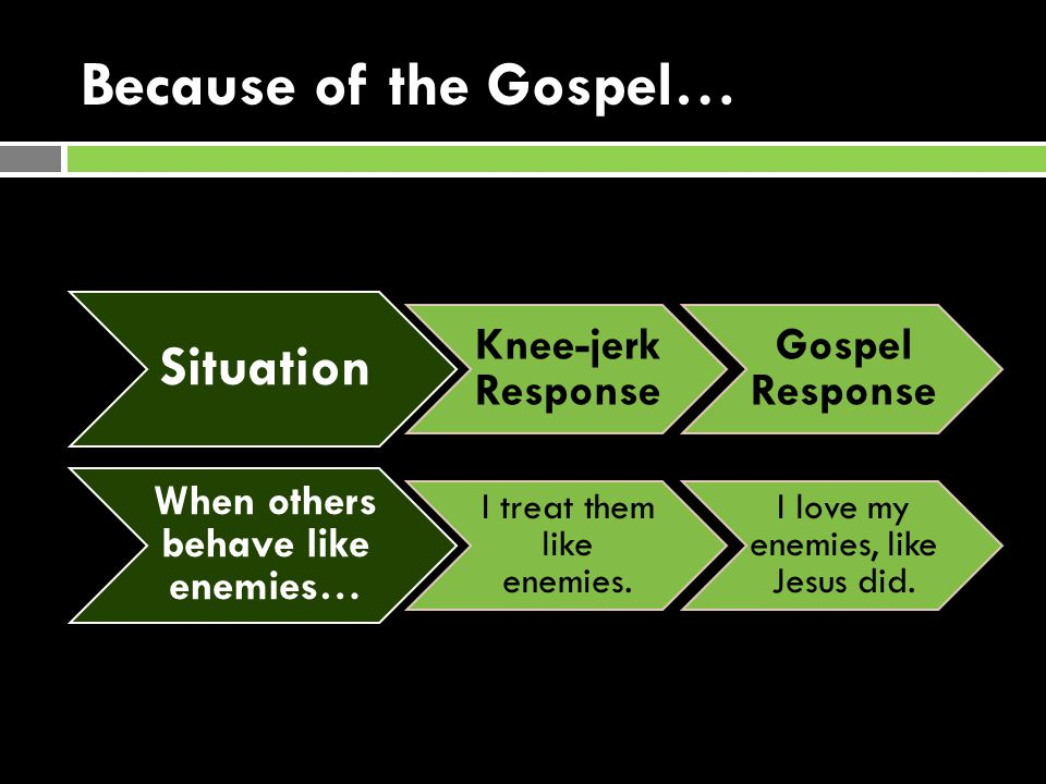 Because of the Gospel… Situation Knee-jerk Response Gospel Response When others behave like enemies… I treat them like enemies.