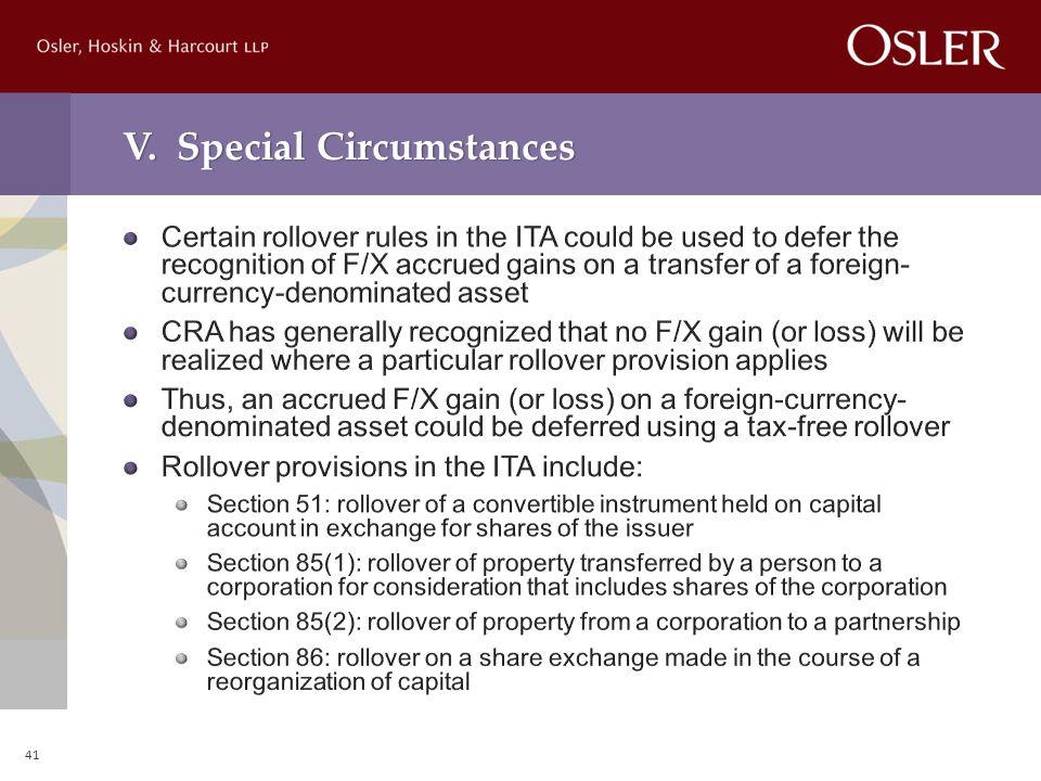 V. Special Circumstances 41