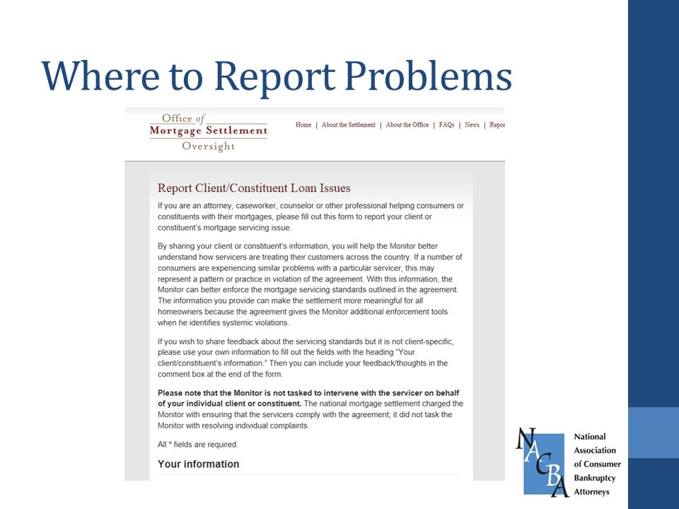 Where to Report Problems