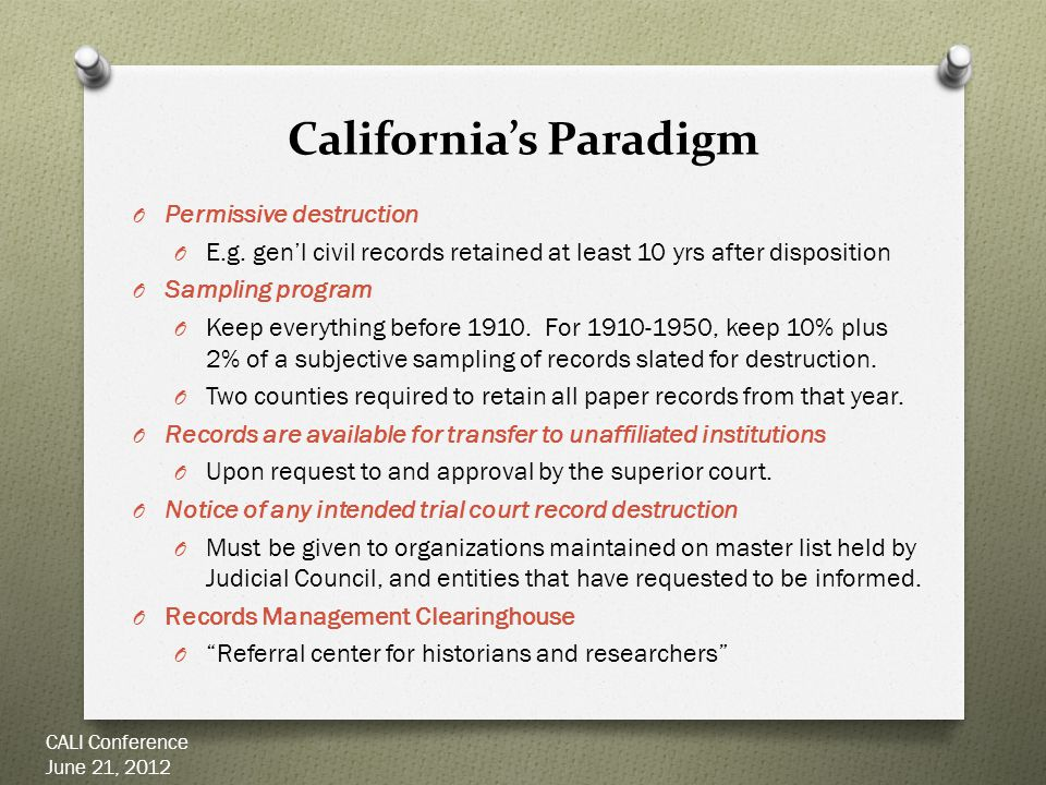 California's Paradigm O Permissive destruction O E.g.