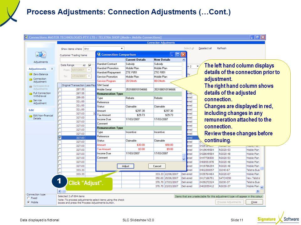 Data displayed is fictionalSLC Slideshow V2.0 Slide 11 Click Adjust .