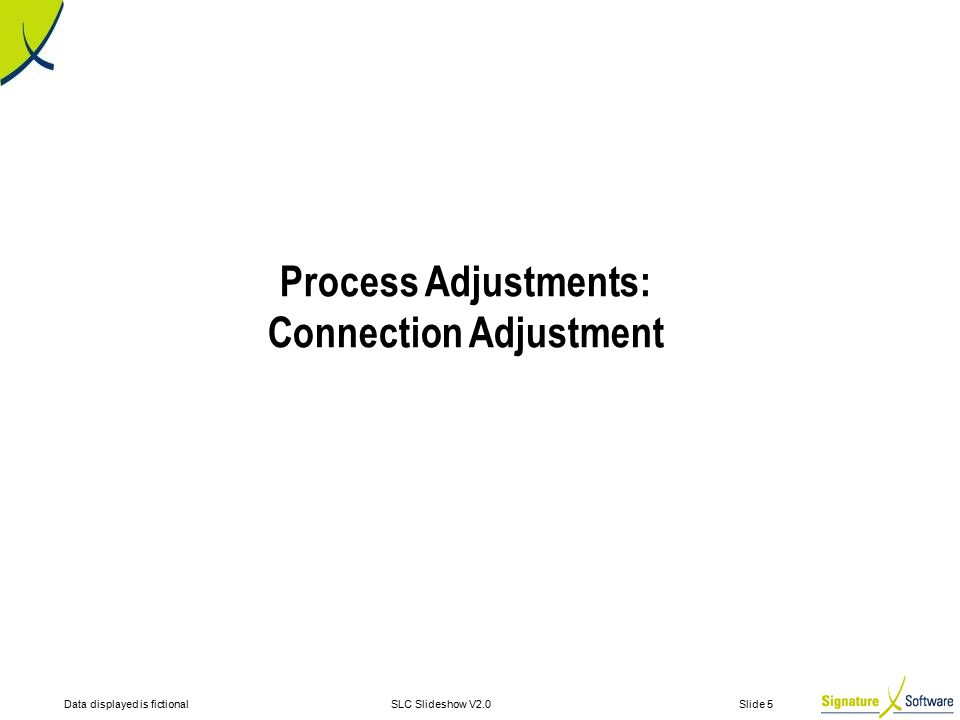 Data displayed is fictionalSLC Slideshow V2.0 Slide 5 Process Adjustments: Connection Adjustment