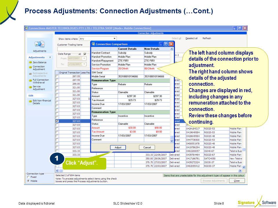 Data displayed is fictionalSLC Slideshow V2.0 Slide 8 The left hand column displays details of the connection prior to adjustment.