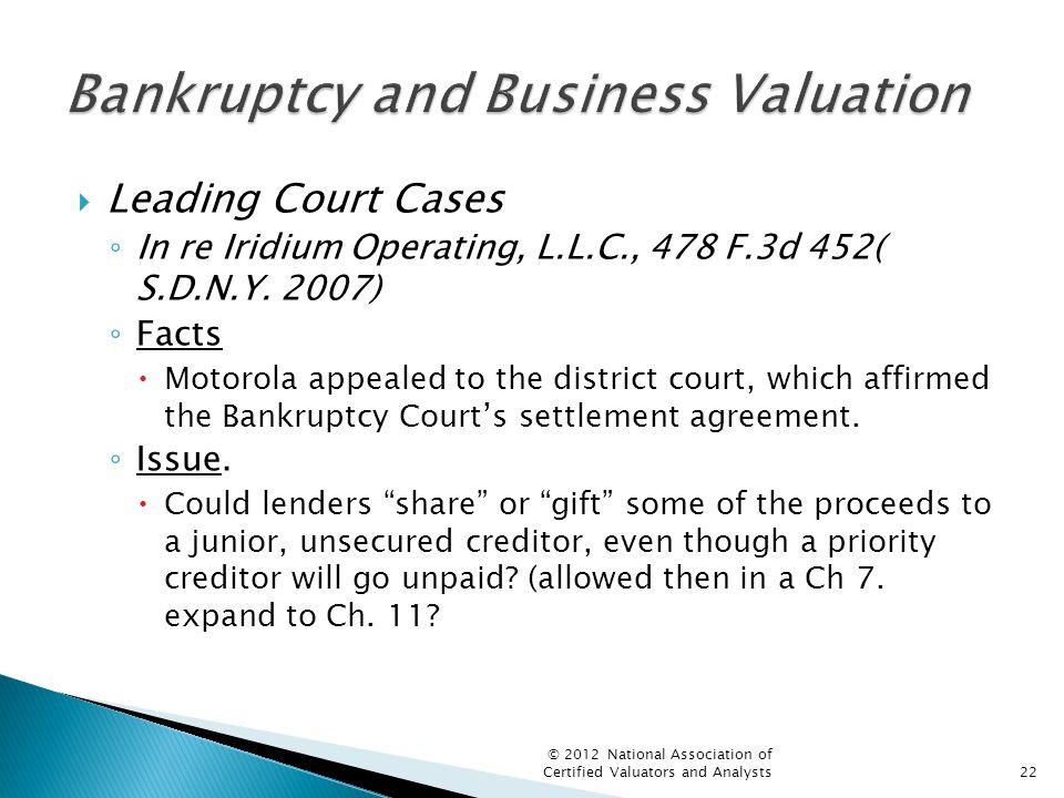  Leading Court Cases ◦ In re Iridium Operating, L.L.C., 478 F.3d 452( S.D.N.Y.