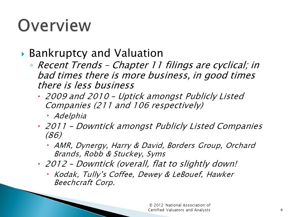  Bankruptcy and Valuation ◦ Recent Trends – Chapter 11 filings are cyclical; in bad times there is more business, in good times there is less business  2009 and 2010 – Uptick amongst Publicly Listed Companies (211 and 106 respectively)  Adelphia  2011 – Downtick amongst Publicly Listed Companies (86)  AMR, Dynergy, Harry & David, Borders Group, Orchard Brands, Robb & Stuckey, Syms  2012 – Downtick (overall, flat to slightly down.