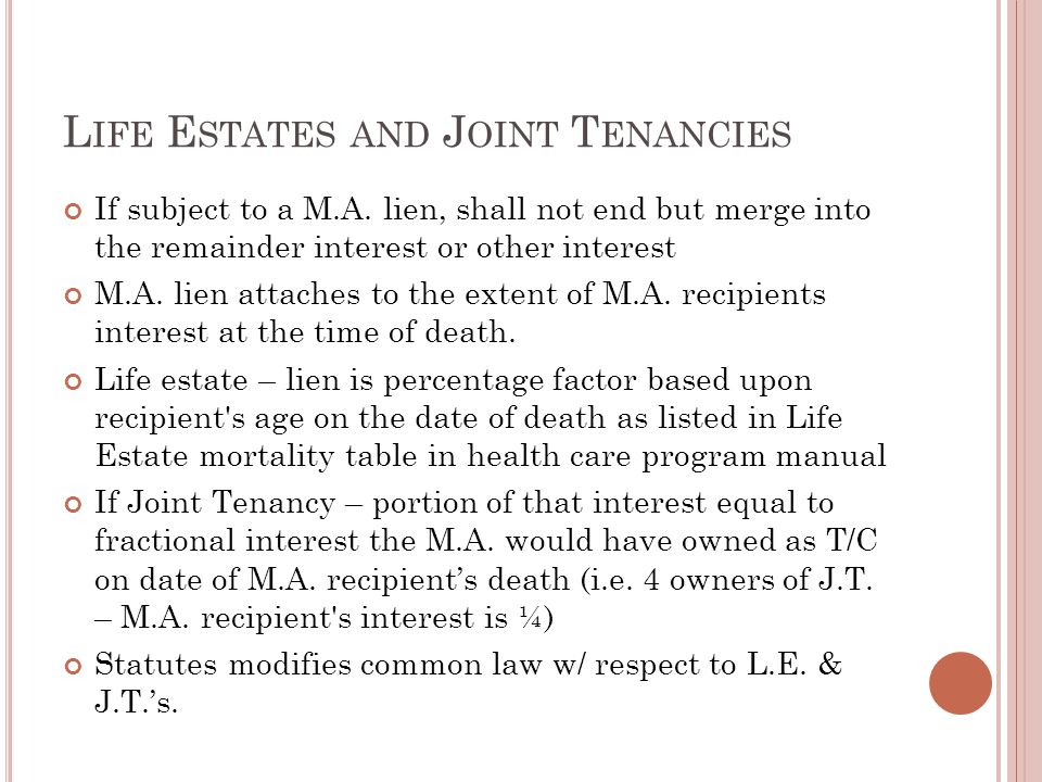 L IFE E STATES AND J OINT T ENANCIES If subject to a M.A. lien, shall not end but merge into the remainder interest or other interest M.A. lien attach