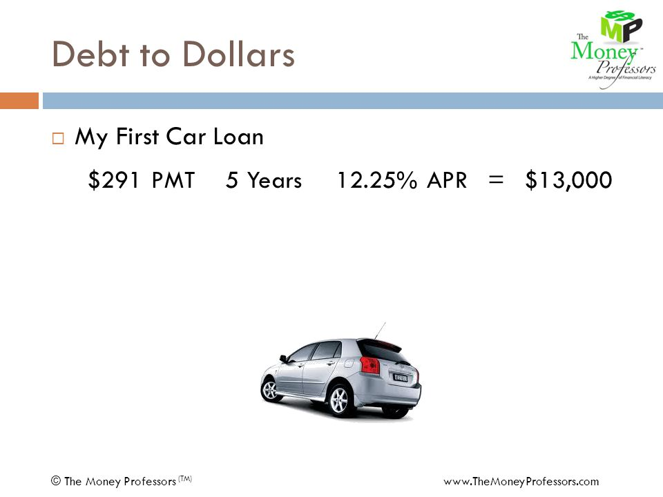 Debt to Dollars  My First Car Loan $291 PMT5 Years12.25% APR=$13,000 - 25 PMTMasterCard PMT $266 PMT5 Years13.65% APR=11,522 COST$ 1,478 © The Money Professors (TM) www.TheMoneyProfessors.com
