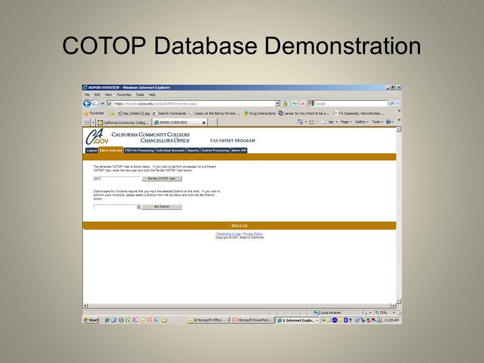 COTOP Database Demonstration
