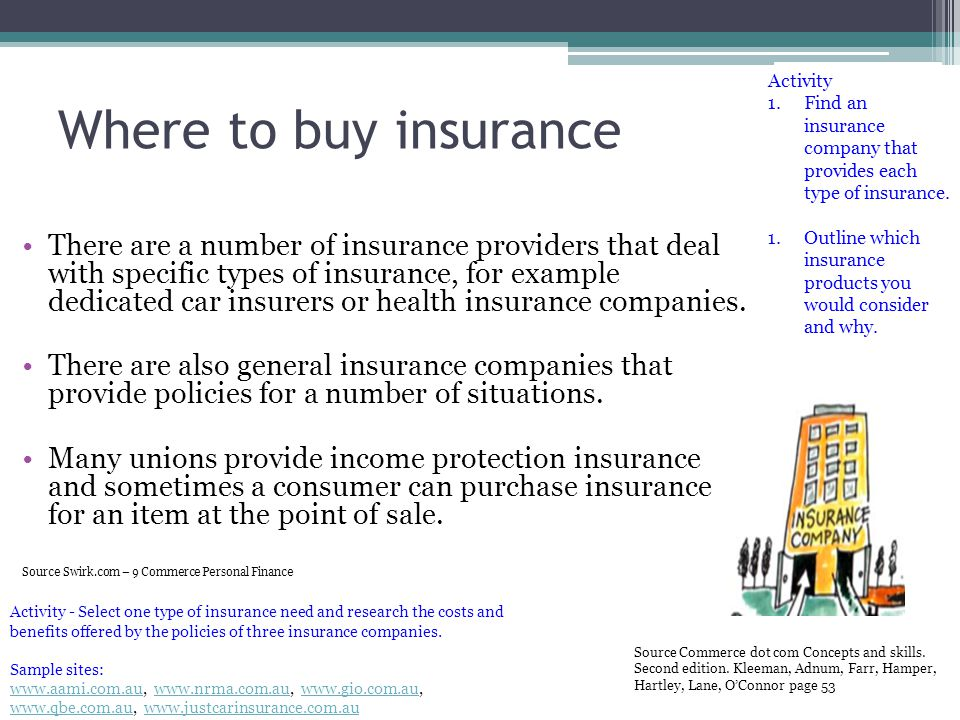Where to buy insurance There are a number of insurance providers that deal with specific types of insurance, for example dedicated car insurers or hea