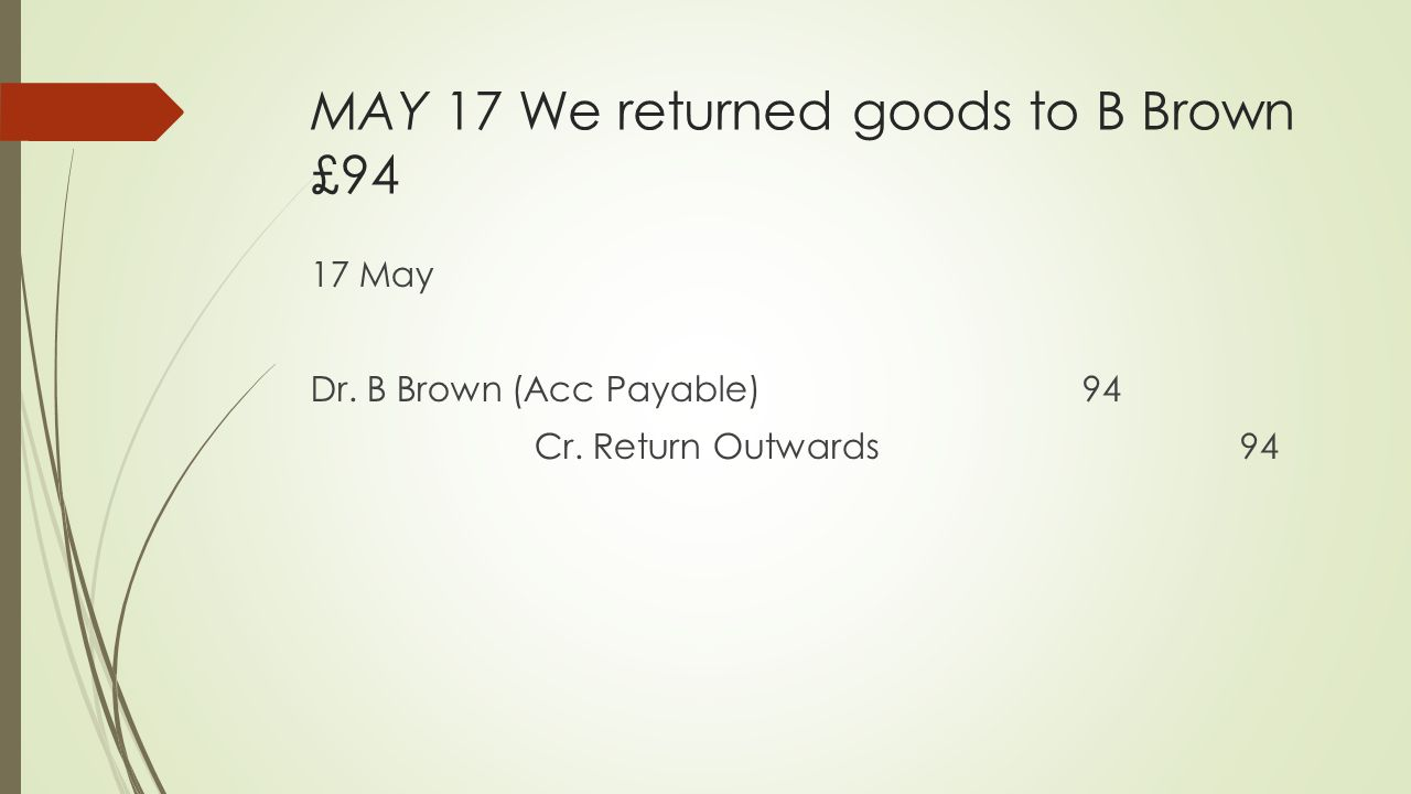 MAY 17 We returned goods to B Brown £94 17 May Dr. B Brown (Acc Payable) 94 Cr. Return Outwards 94