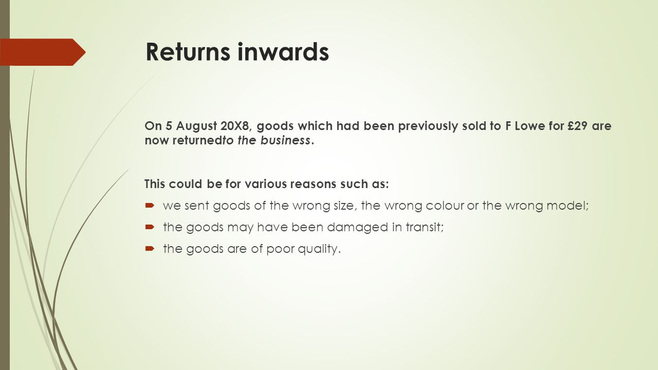 Returns inwards On 5 August 20X8, goods which had been previously sold to F Lowe for £29 are now returned to the business.