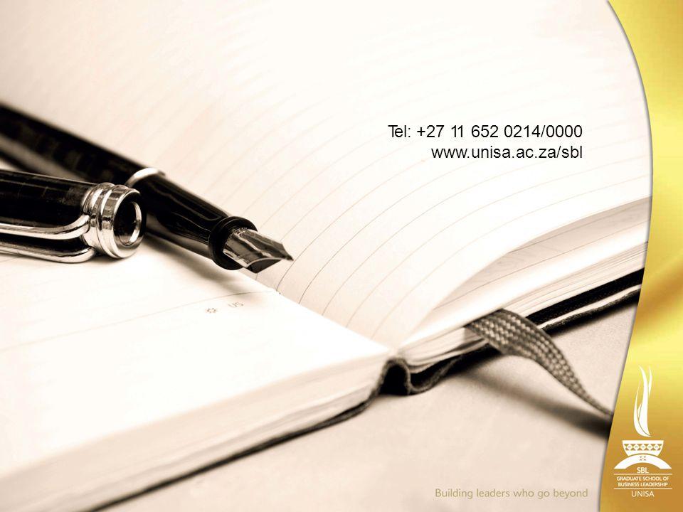 Tel: +27 11 652 0214/0000 www.unisa.ac.za/sbl