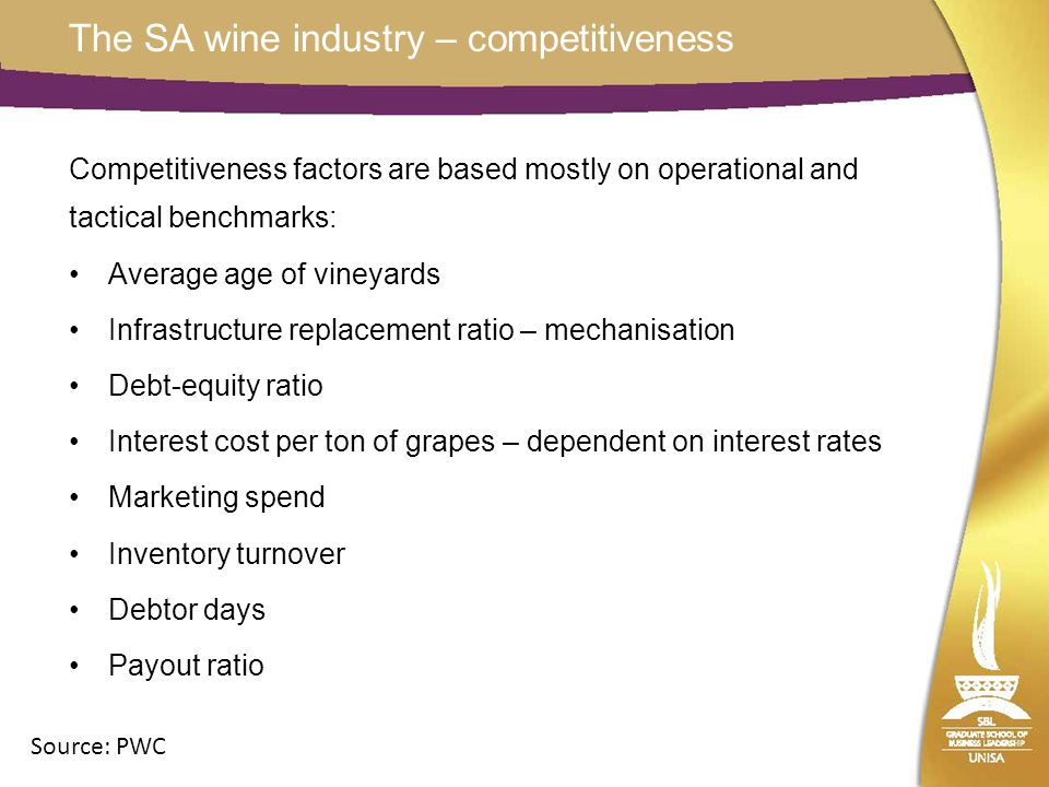 The SA wine industry – competitiveness Competitiveness factors are based mostly on operational and tactical benchmarks: Average age of vineyards Infrastructure replacement ratio – mechanisation Debt-equity ratio Interest cost per ton of grapes – dependent on interest rates Marketing spend Inventory turnover Debtor days Payout ratio Source: PWC