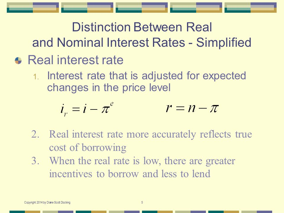 Copyright 2014 by Diane Scott Docking5 Distinction Between Real and Nominal Interest Rates - Simplified Real interest rate 1. Interest rate that is ad