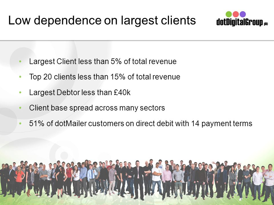 Low dependence on largest clients Largest Client less than 5% of total revenue Top 20 clients less than 15% of total revenue Largest Debtor less than £40k Client base spread across many sectors 51% of dotMailer customers on direct debit with 14 payment terms