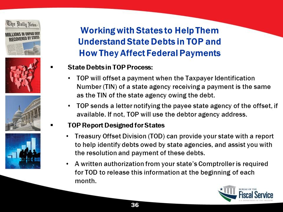 Working with States to Help Them Understand State Debts in TOP and How They Affect Federal Payments  State Debts in TOP Process: TOP will offset a pa