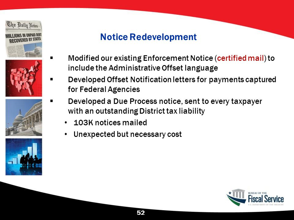Notice Redevelopment  Modified our existing Enforcement Notice (certified mail) to include the Administrative Offset language  Developed Offset Noti