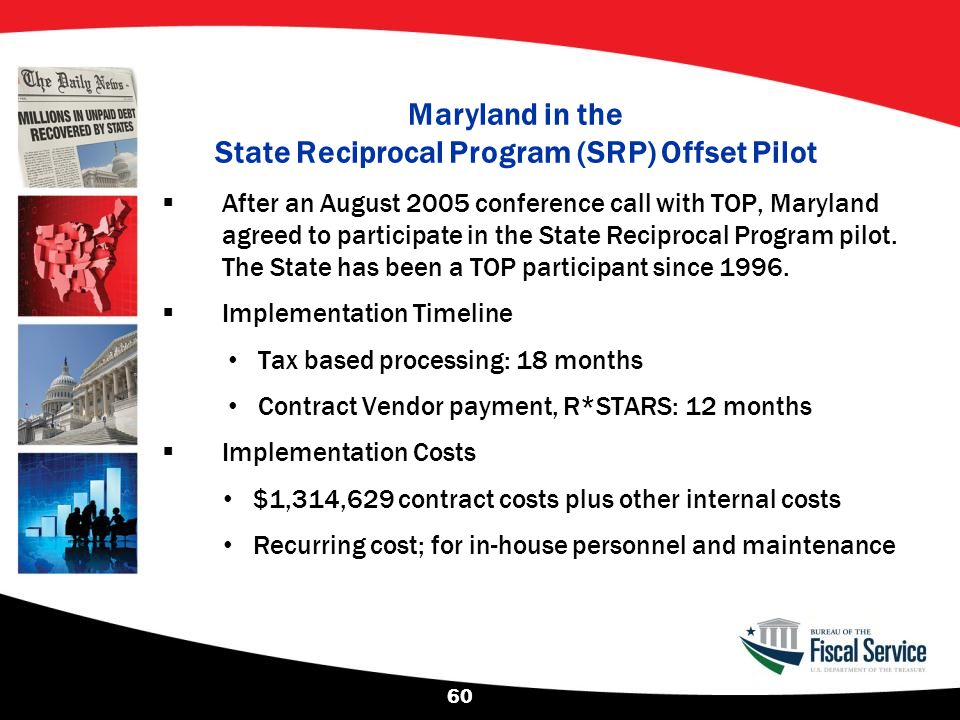 Maryland in the State Reciprocal Program (SRP) Offset Pilot  After an August 2005 conference call with TOP, Maryland agreed to participate in the Sta