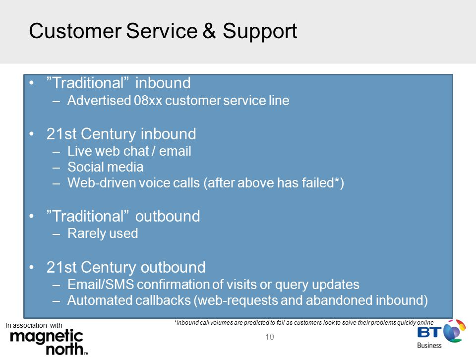 In association with Customer Service & Support 10 Traditional inbound –Advertised 08xx customer service line 21st Century inbound –Live web chat / email –Social media –Web-driven voice calls (after above has failed*) Traditional outbound –Rarely used 21st Century outbound –Email/SMS confirmation of visits or query updates –Automated callbacks (web-requests and abandoned inbound) *Inbound call volumes are predicted to fall as customers look to solve their problems quickly online