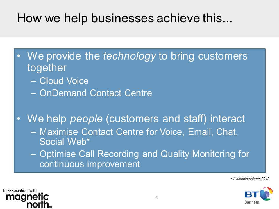 In association with How we help businesses achieve this...