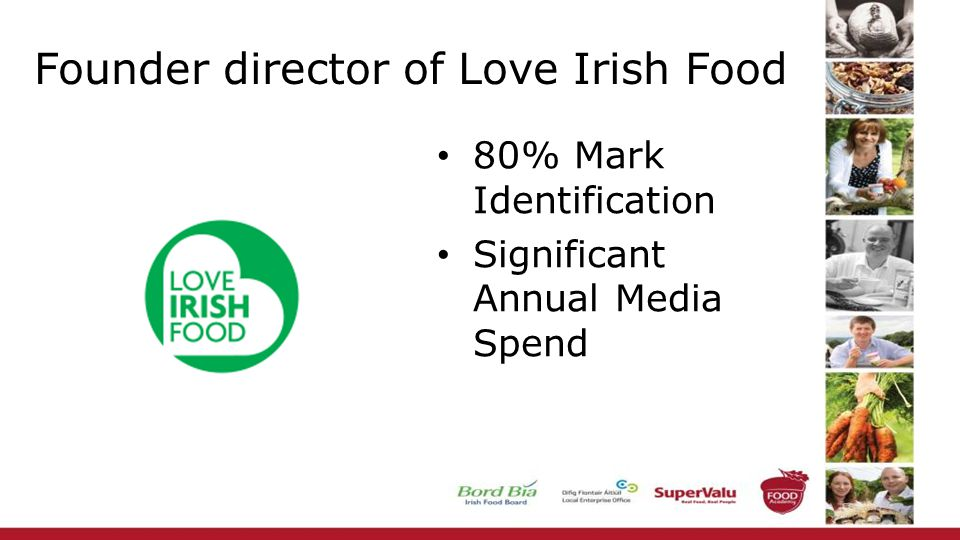 Founder director of Love Irish Food 80% Mark Identification Significant Annual Media Spend