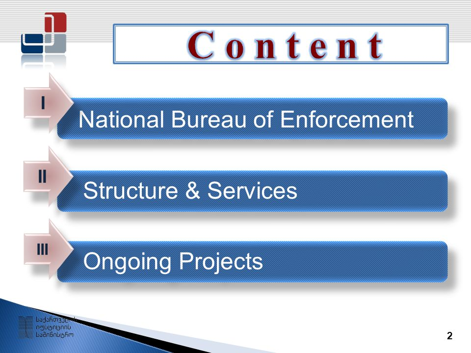 2 National Bureau of Enforcement Structure & Services Ongoing Projects I I II III