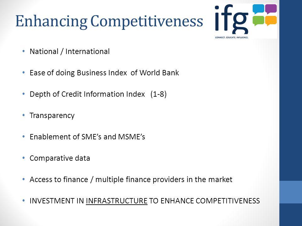 Enhancing Competitiveness National / International Ease of doing Business Index of World Bank Depth of Credit Information Index (1-8) Transparency Ena
