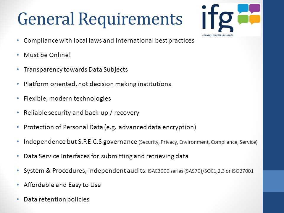 General Requirements Compliance with local laws and international best practices Must be Online.