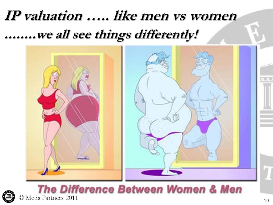 IP valuation ….. like men vs women........ we all see things differently! © Metis Partners 2011 10