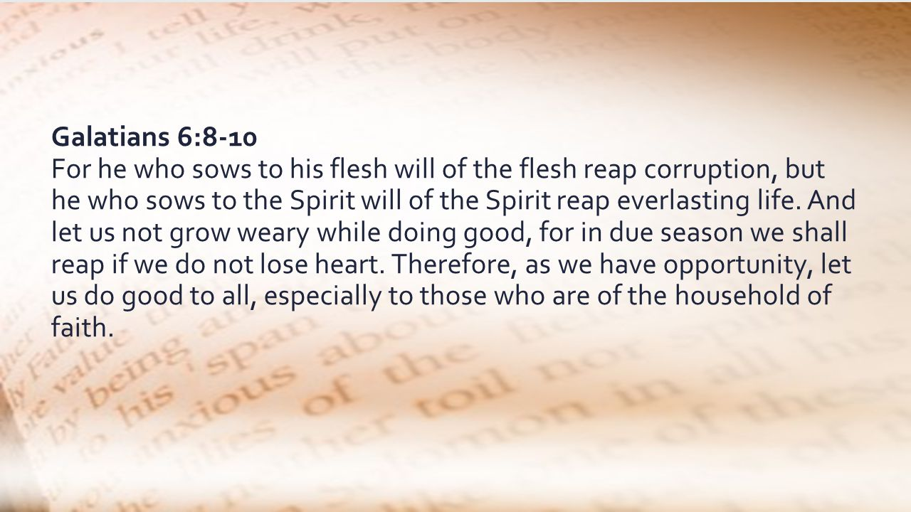 Galatians 6:8-10 For he who sows to his flesh will of the flesh reap corruption, but he who sows to the Spirit will of the Spirit reap everlasting life.