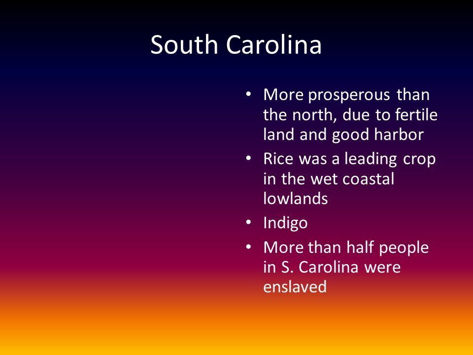 South Carolina More prosperous than the north, due to fertile land and good harbor Rice was a leading crop in the wet coastal lowlands Indigo More tha
