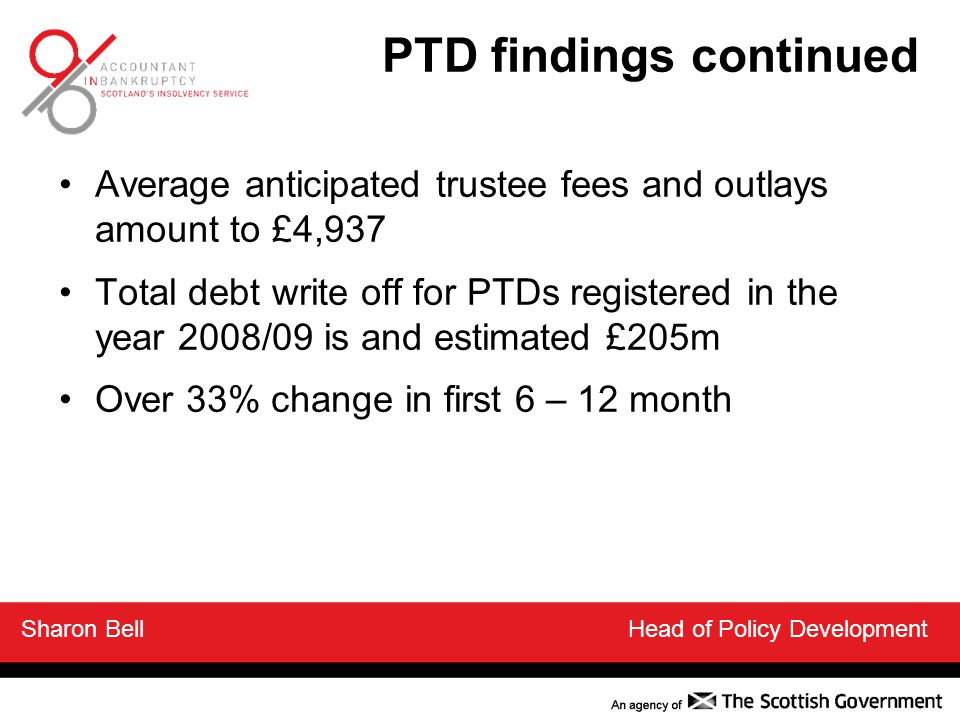 Average anticipated trustee fees and outlays amount to £4,937 Total debt write off for PTDs registered in the year 2008/09 is and estimated £205m Over 33% change in first 6 – 12 month PTD findings continued Sharon Bell Head of Policy Development