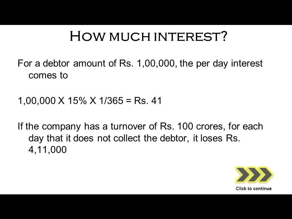 How much interest. For a debtor amount of Rs.