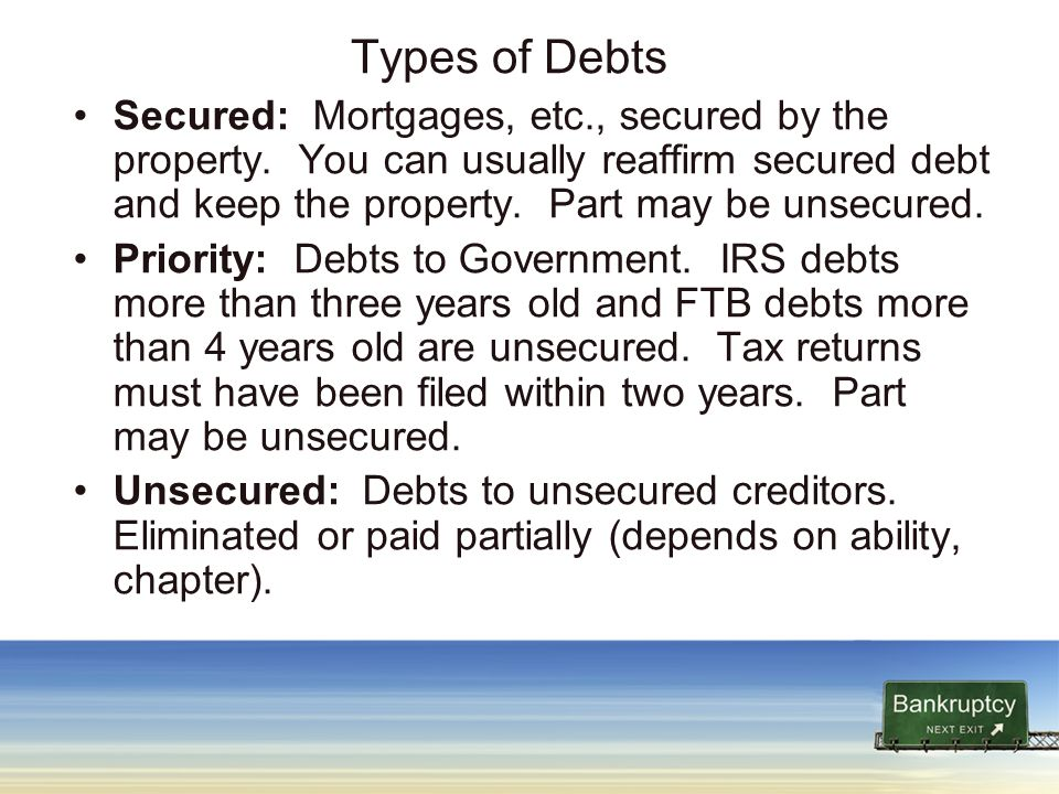 Types of Debts Secured: Mortgages, etc., secured by the property.