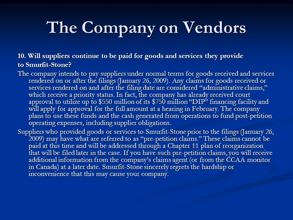 The Company on Vendors 10.