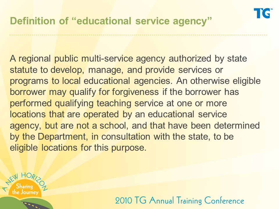 Definition of educational service agency A regional public multi-service agency authorized by state statute to develop, manage, and provide services or programs to local educational agencies.