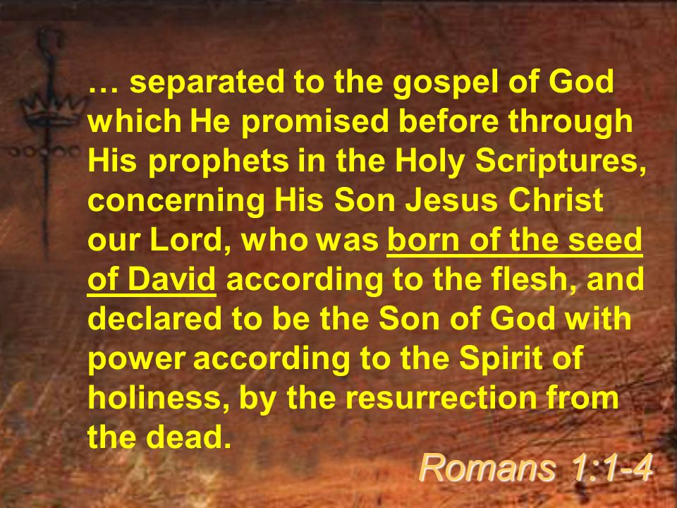 … separated to the gospel of God which He promised before through His prophets in the Holy Scriptures, concerning His Son Jesus Christ our Lord, who was born of the seed of David according to the flesh, and declared to be the Son of God with power according to the Spirit of holiness, by the resurrection from the dead.