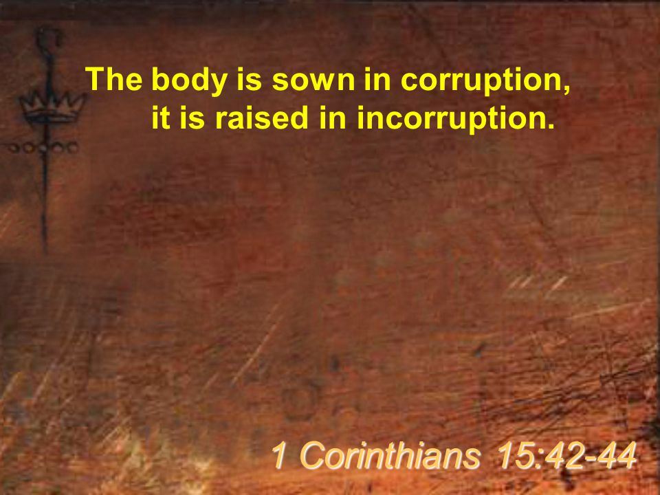 The body is sown in corruption, it is raised in incorruption. 1 Corinthians 15:42-44