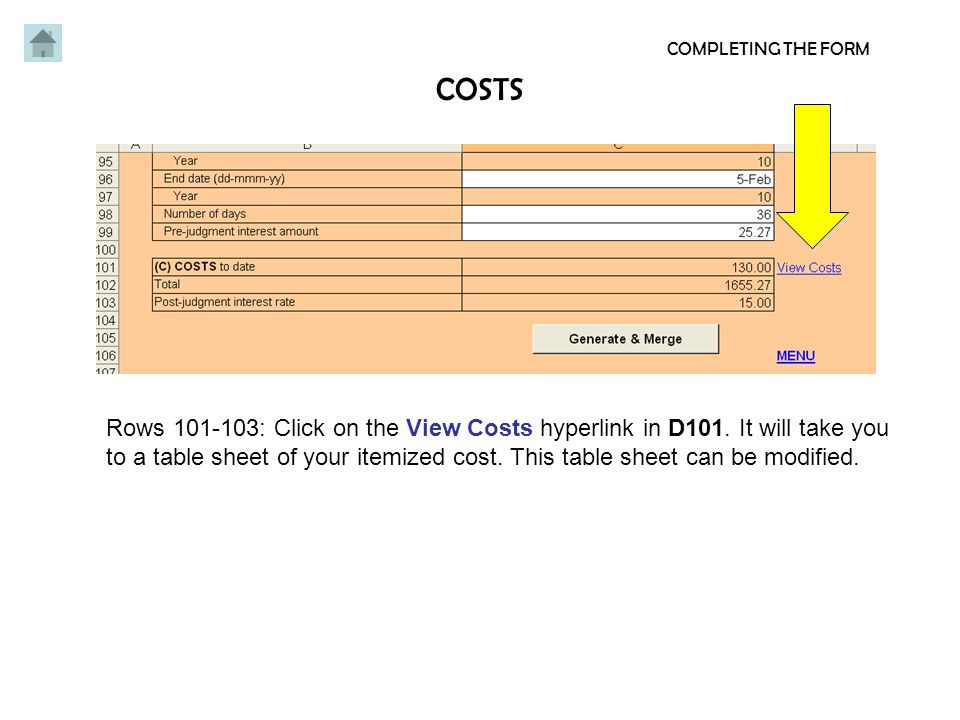 COSTS COMPLETING THE FORM Rows 101-103: Click on the View Costs hyperlink in D101.