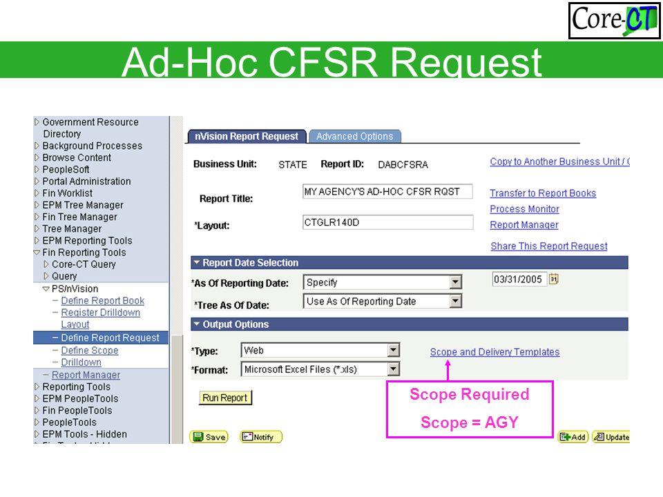 Ad-Hoc CFSR Request Scope Required Scope = AGY