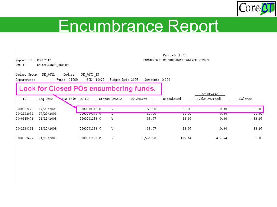 Encumbrance Report Look for Closed POs encumbering funds.