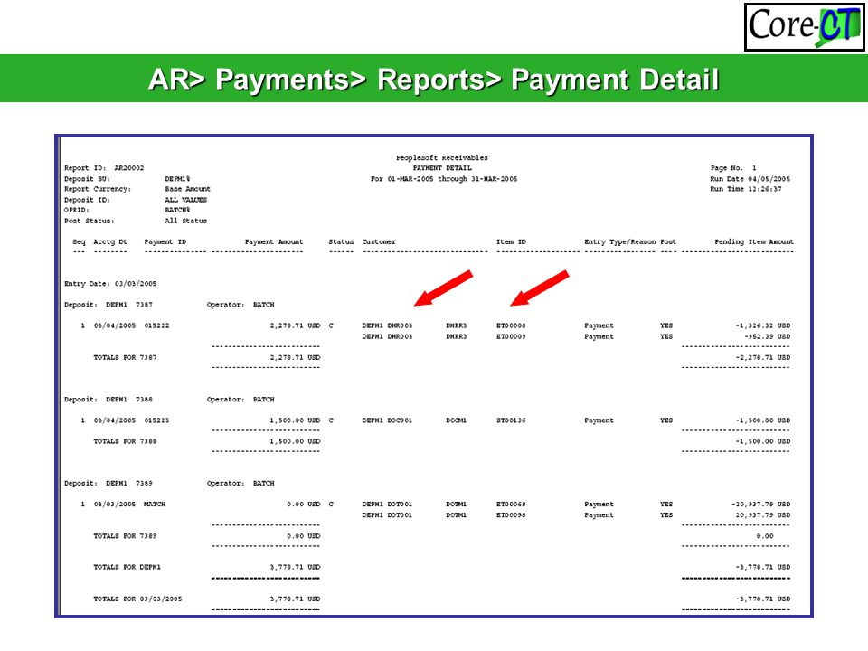 AR> Payments> Reports> Payment Detail