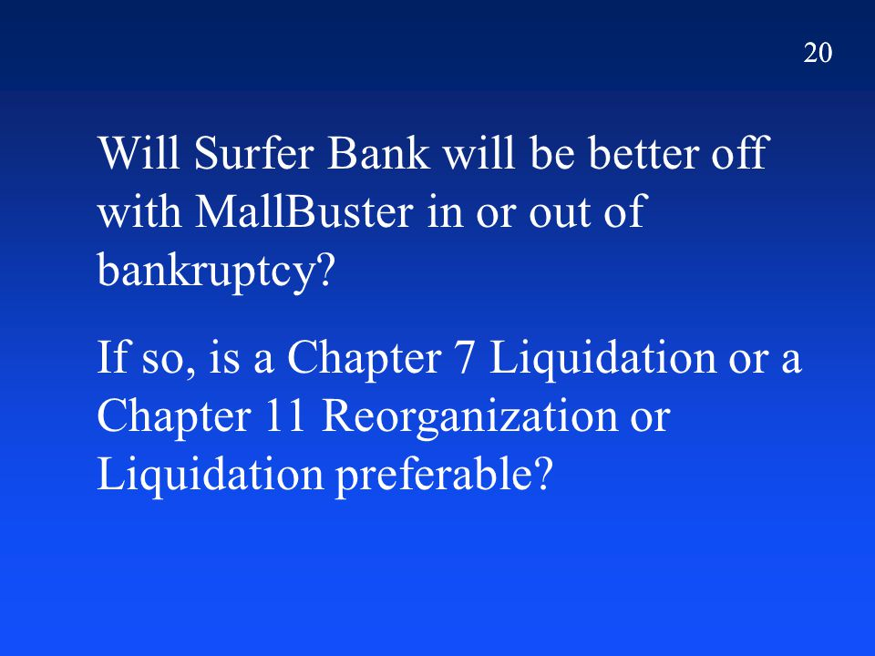 20 Will Surfer Bank will be better off with MallBuster in or out of bankruptcy? If so, is a Chapter 7 Liquidation or a Chapter 11 Reorganization or Li