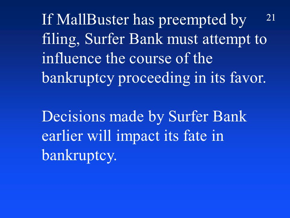 21 If MallBuster has preempted by filing, Surfer Bank must attempt to influence the course of the bankruptcy proceeding in its favor.