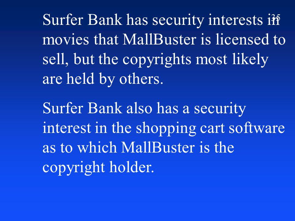 35 Surfer Bank has security interests in movies that MallBuster is licensed to sell, but the copyrights most likely are held by others.