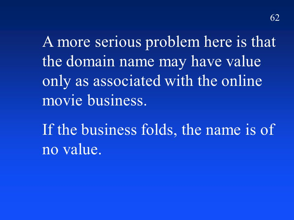 62 A more serious problem here is that the domain name may have value only as associated with the online movie business. If the business folds, the na