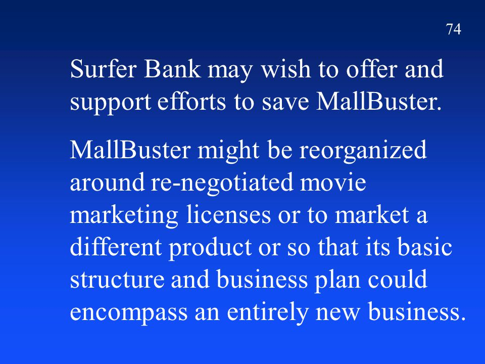 74 Surfer Bank may wish to offer and support efforts to save MallBuster.