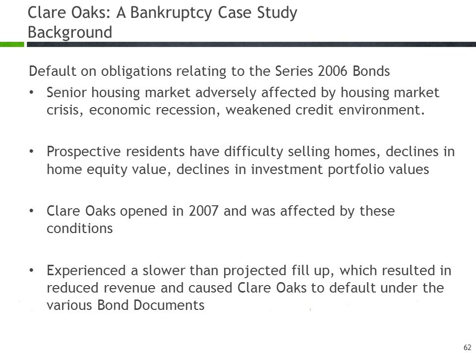 Clare Oaks: A Bankruptcy Case Study Background Default on obligations relating to the Series 2006 Bonds Senior housing market adversely affected by ho